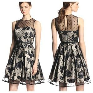 Eliza J Sleeveless Flocked Foral Party Dress